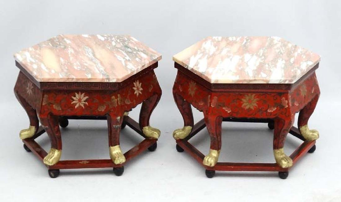 A pair of Chinese lacquered and gilded hexagonal stand