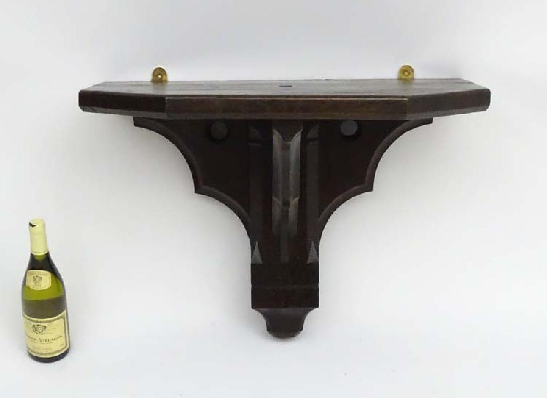 Large 19thC Gothic dark oak five sided wall bracket 27