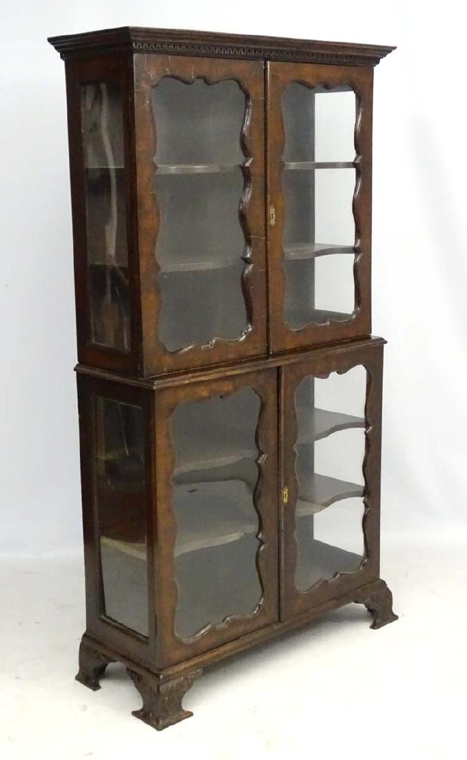 A 19thC walnut 2-part glazed Display Cabinet 37'' wide