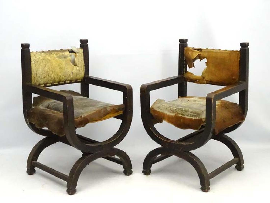 A pair of mid 20thC X- frame Throne Chairs with pony