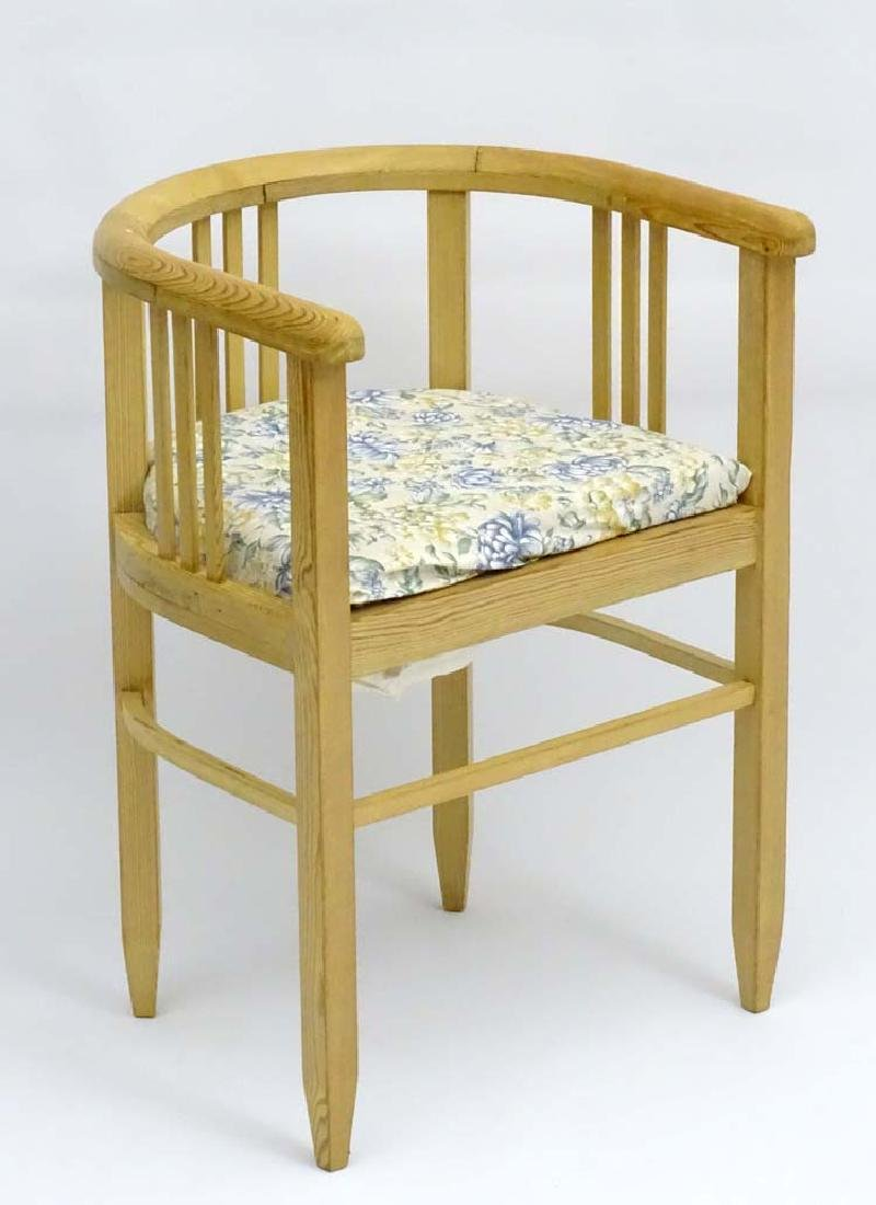 A mid / late 19thC pine bow back Chair with curved