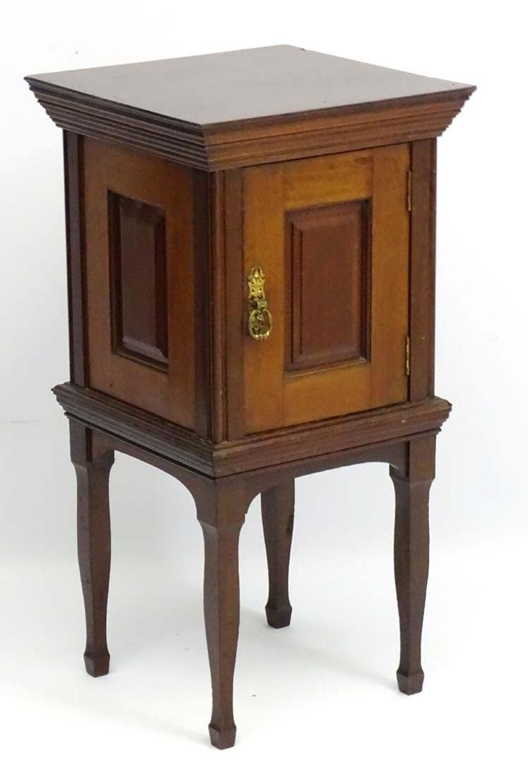 A late 19thC mahogany Pot cupboard with yellow marble