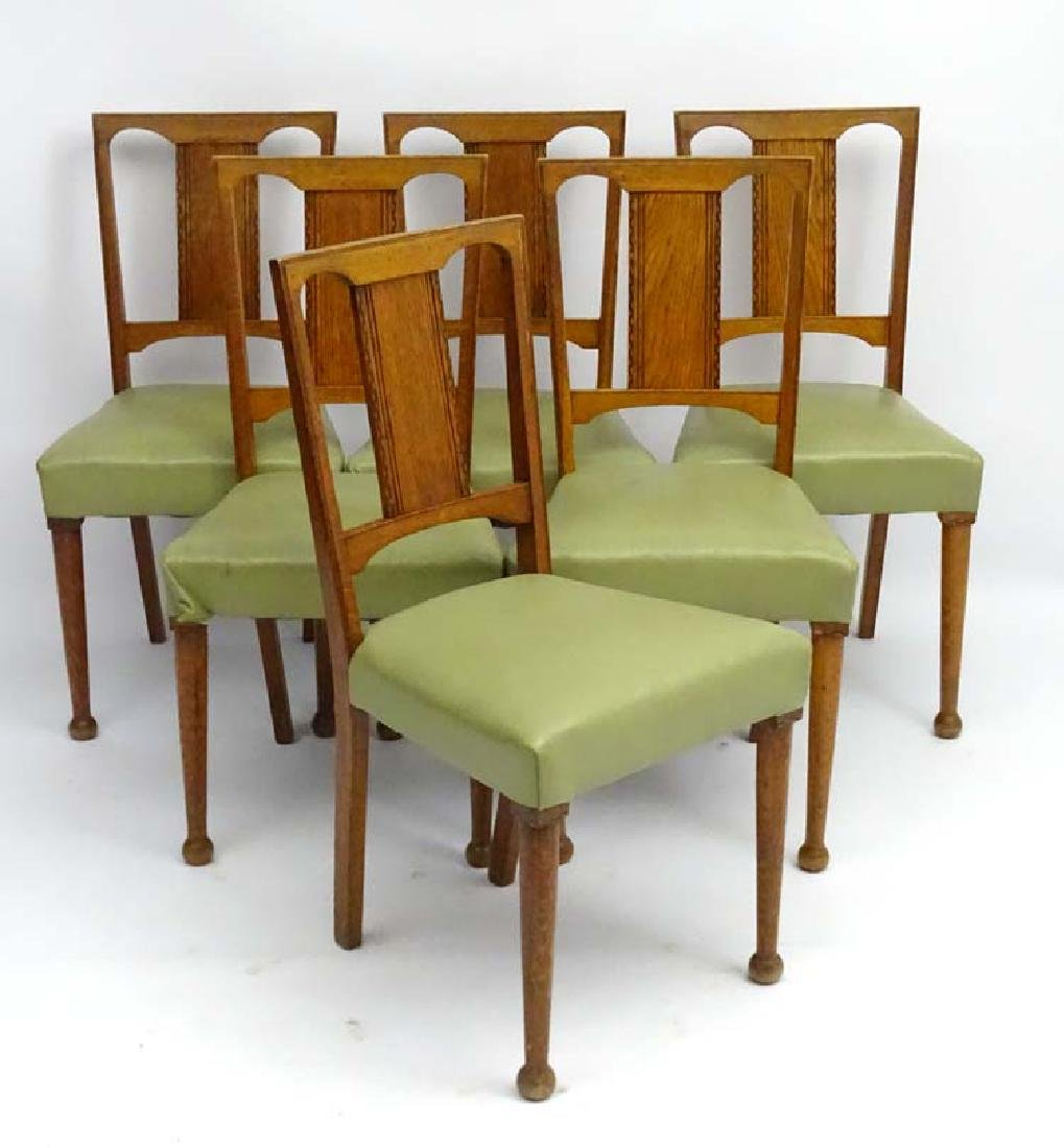 Arts and Crafts : 6 oak dining chairs with inlay and