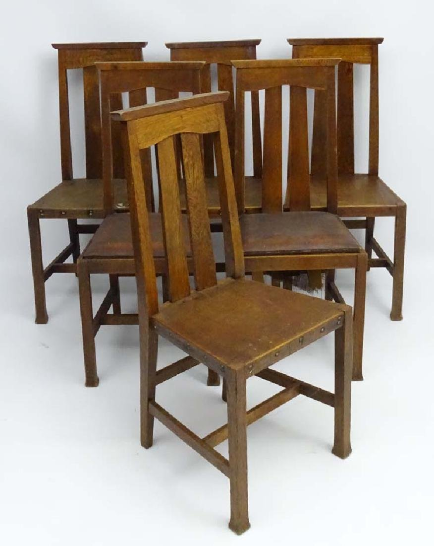 Arts and Crafts -  Morris & Co: A set of 6 oak dining