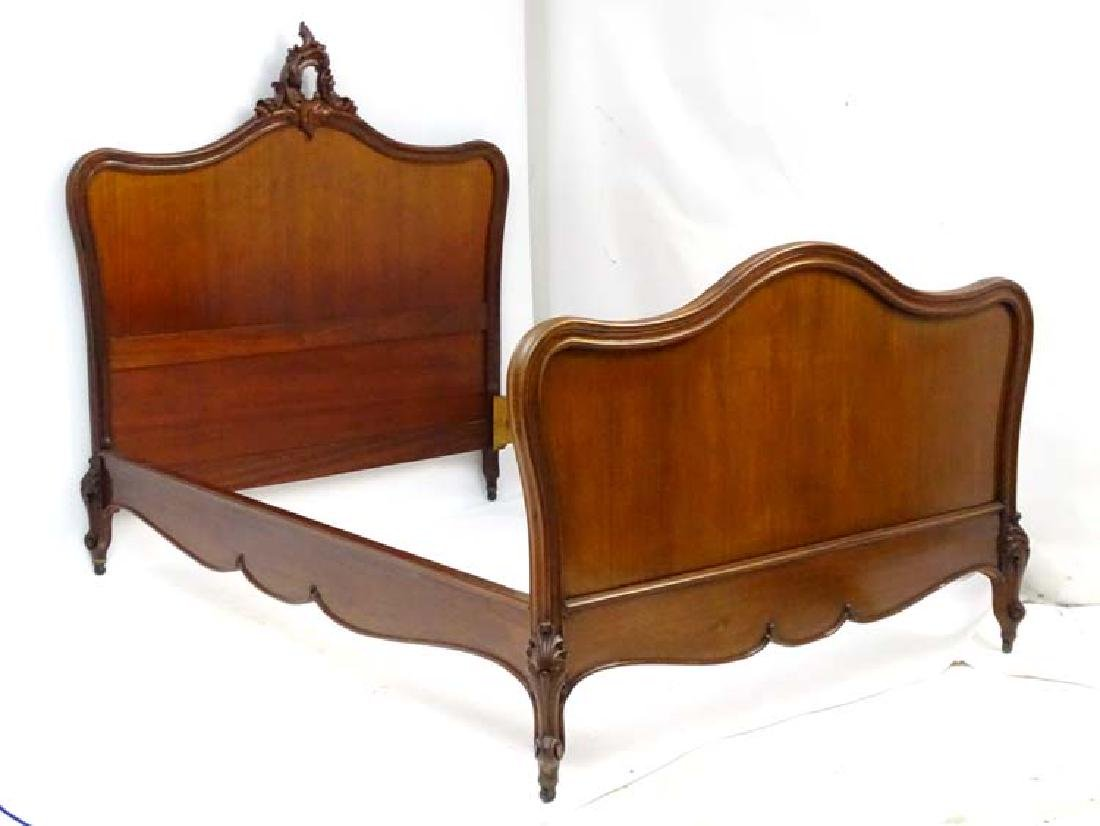 A Louise XV style mahogany Bed with an ornate floral - 5