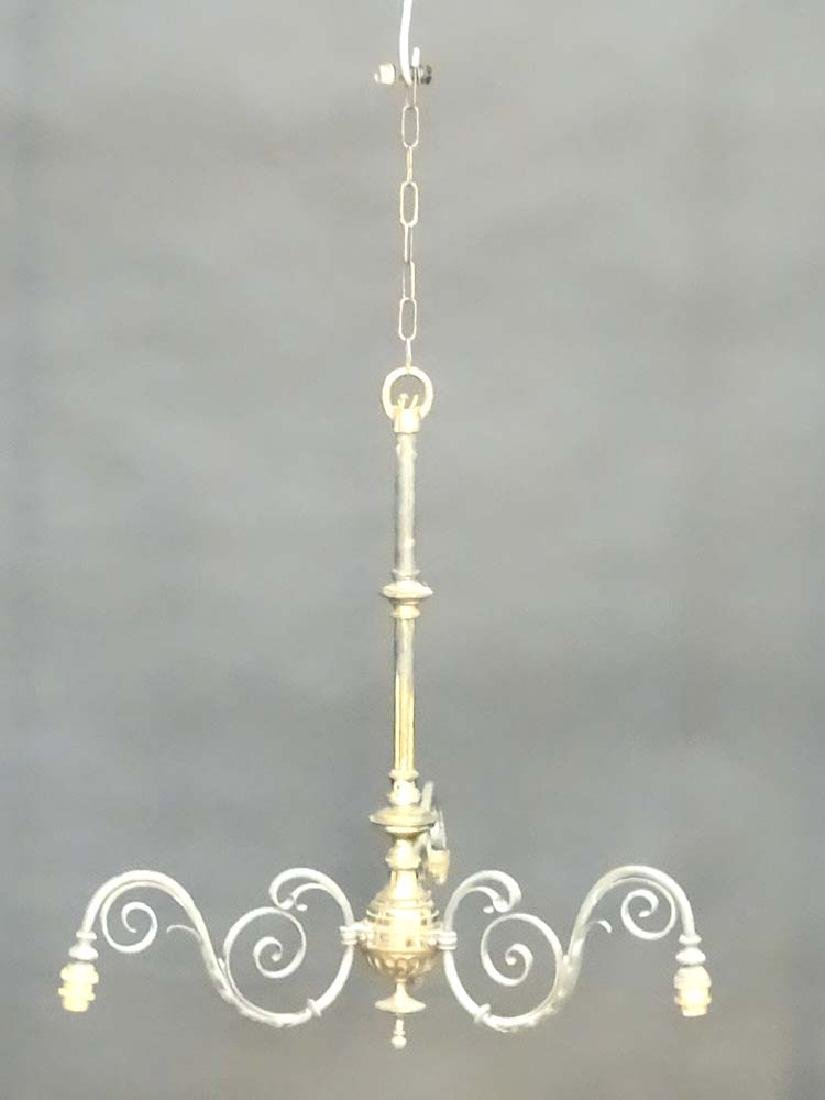 An early 20thC pendant electrolier with 3 branches