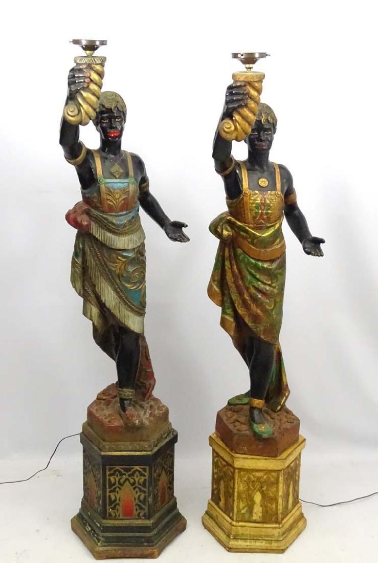 Two mid 20thC painted blackamoor figural electrolier