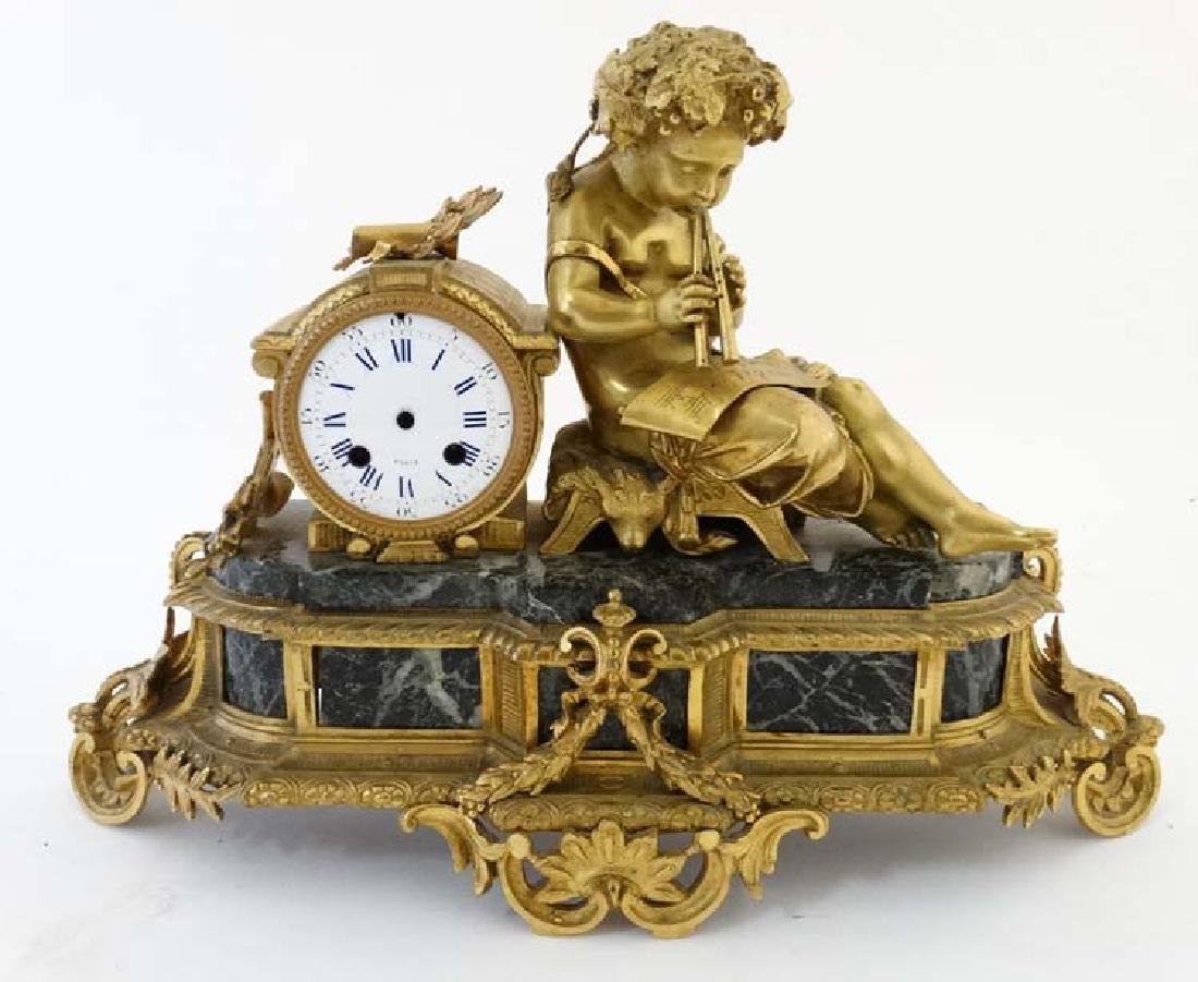 Impressive French Figural gilt and Marble Clock: a Japy