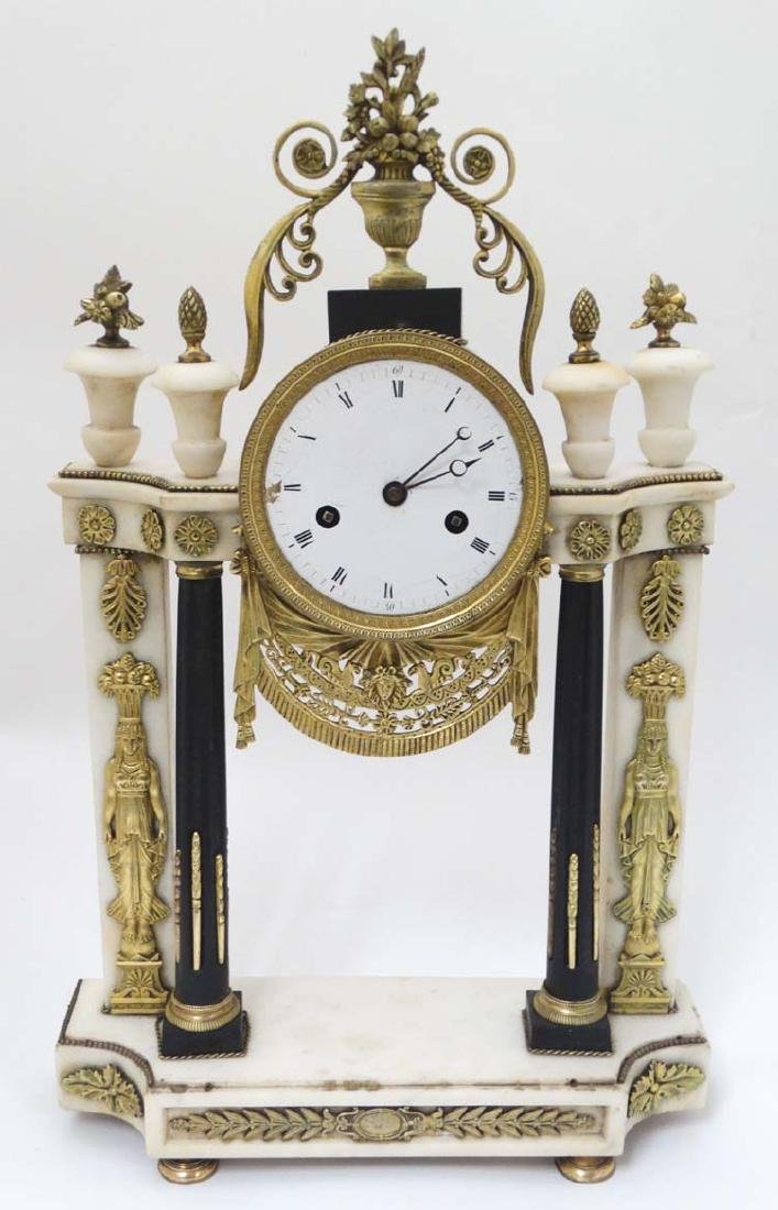 French Empire Portico Clock : A 19 th C White marble ,
