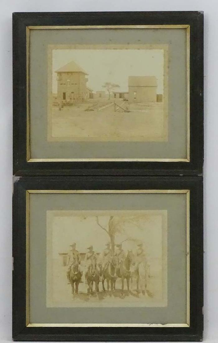 Militaria : Two framed sepia Photographs of Boer War