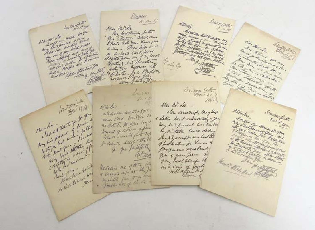 Ephemera: Eight autographed letters of thanks from