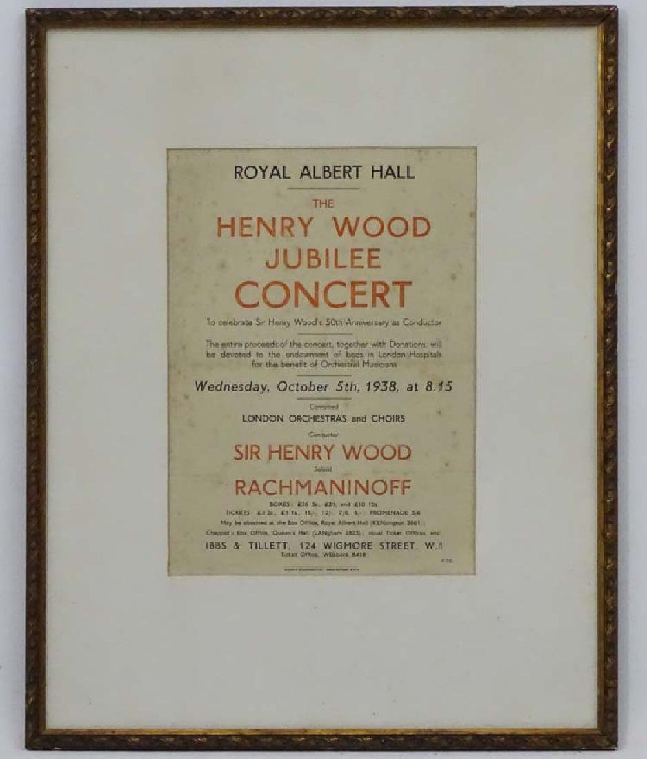 Poster :The Henry Wood Jubilee  Concert at The Royal