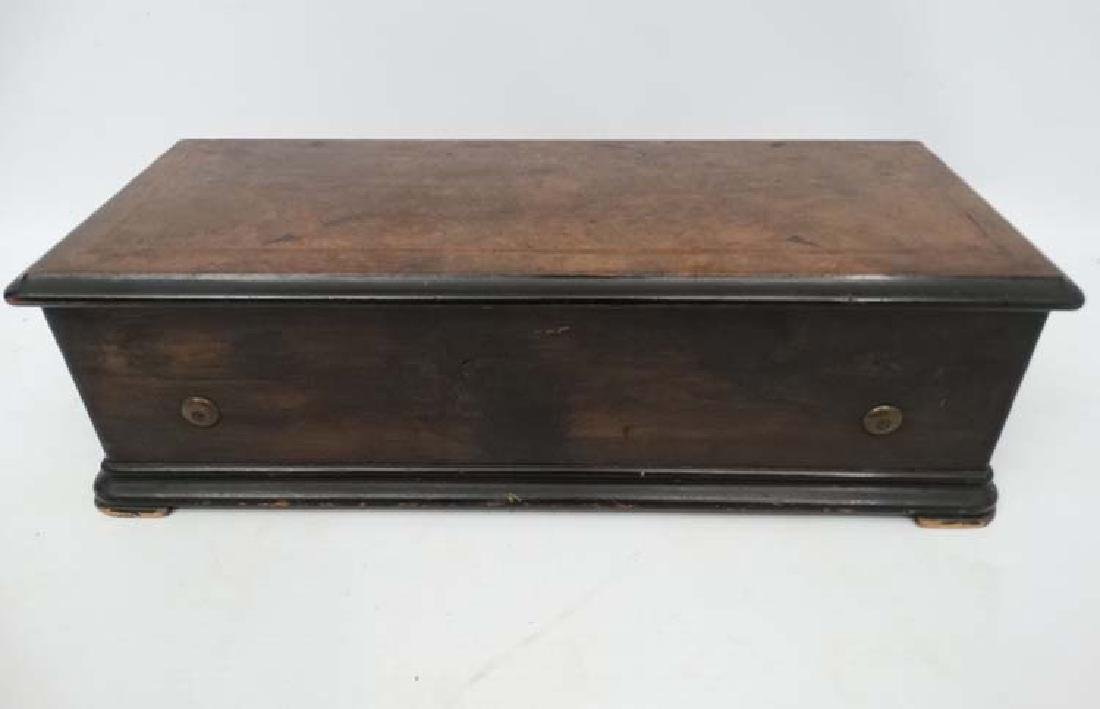 A Victorian cylinder table top music box with inlaid