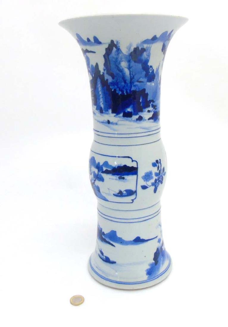 A Chinese Blue and White Gu- Shaped beaker vase, lower