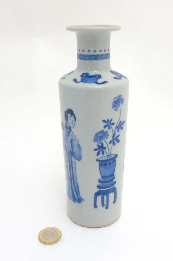 A Chinese Blue and White vase of tall cylindrical form