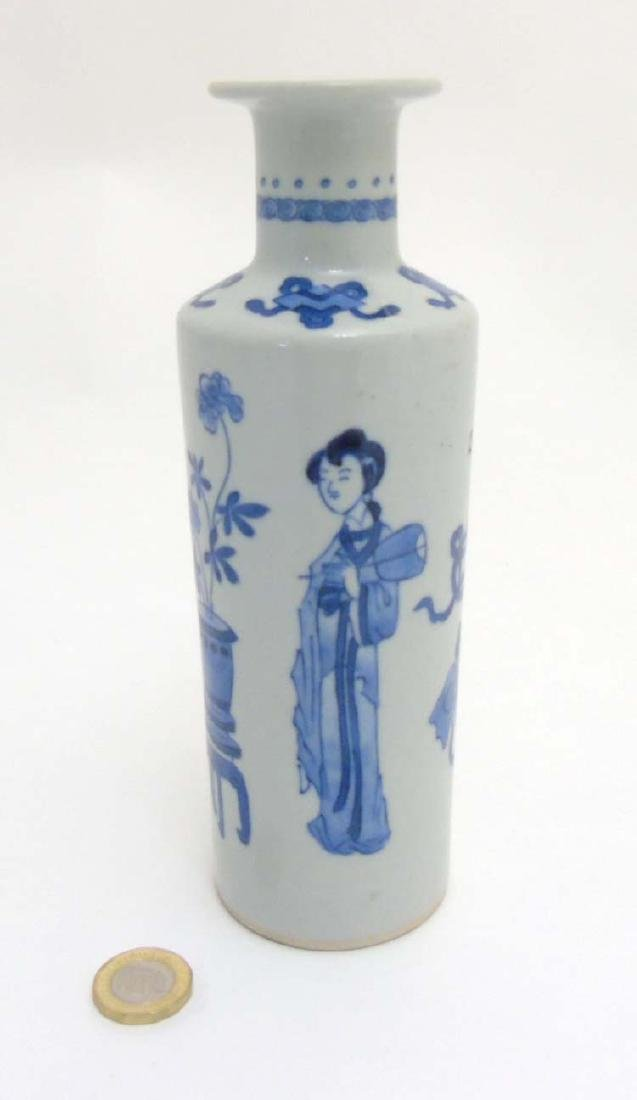 A Chinese Blue and White vase of tall cylindrical form - 3