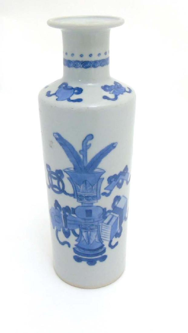 A Chinese Blue and White vase of tall cylindrical form - 4