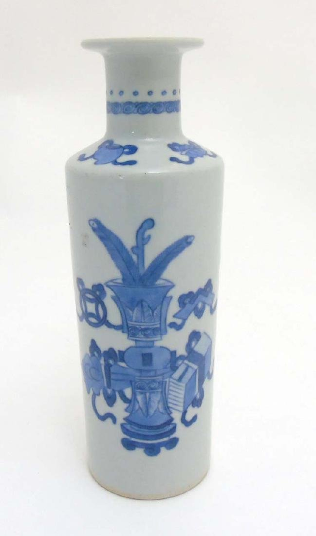 A Chinese Blue and White vase of tall cylindrical form - 5