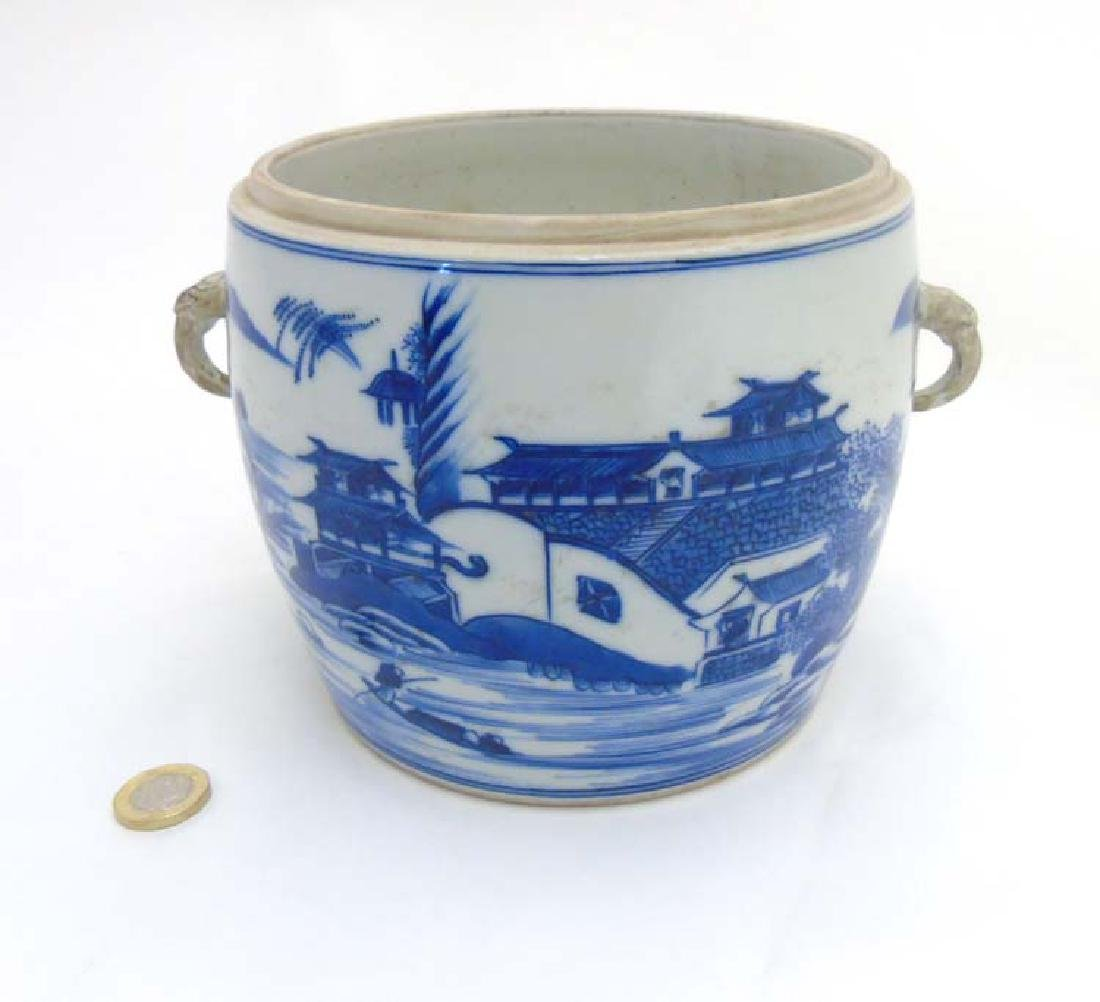 A Chinese Blue and White jar / pot with handles in the