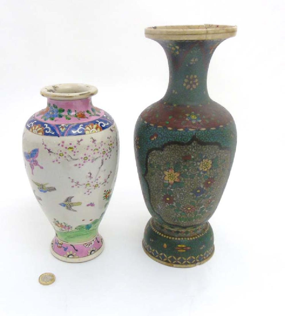 Two Oriental ceramic vases comprising a Japanese Totai