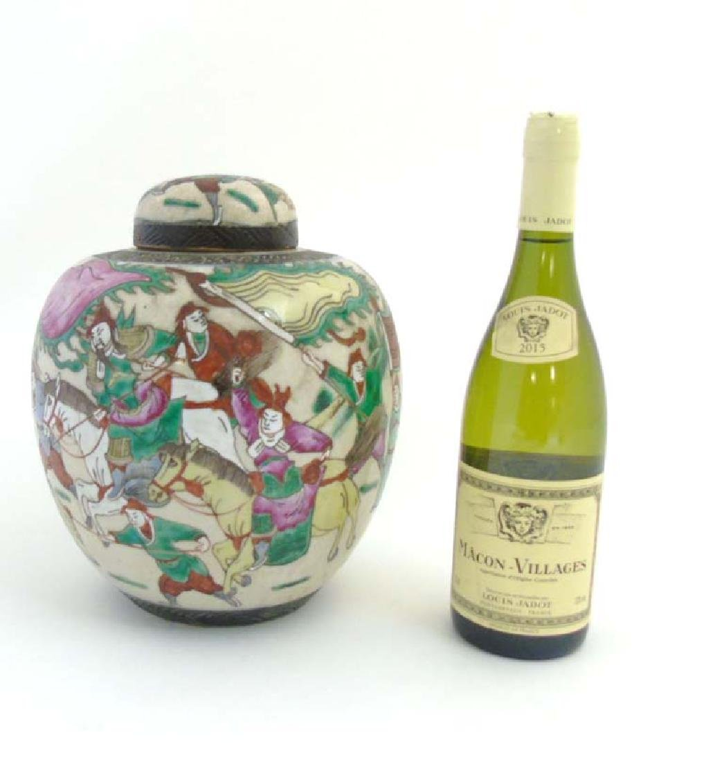 A Chinese warrior famille verte ginger jar & cover on