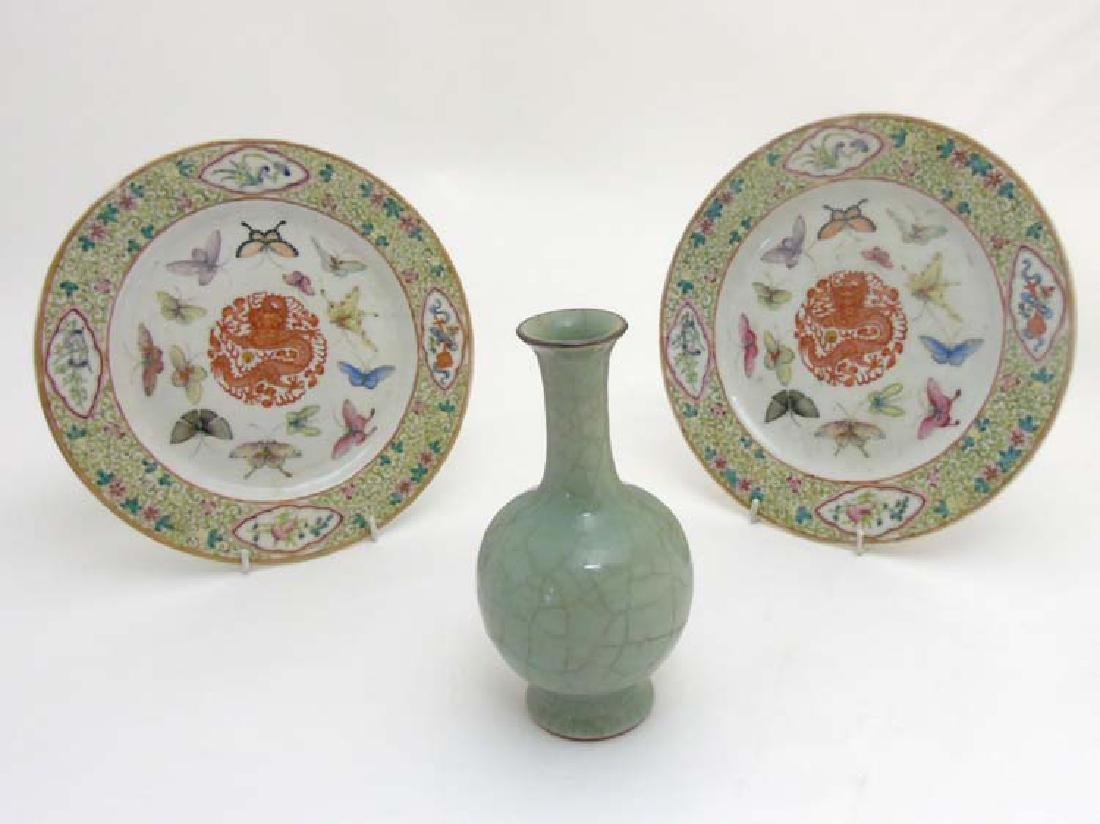 Three Chinese ceramics comprising a pair of plates each