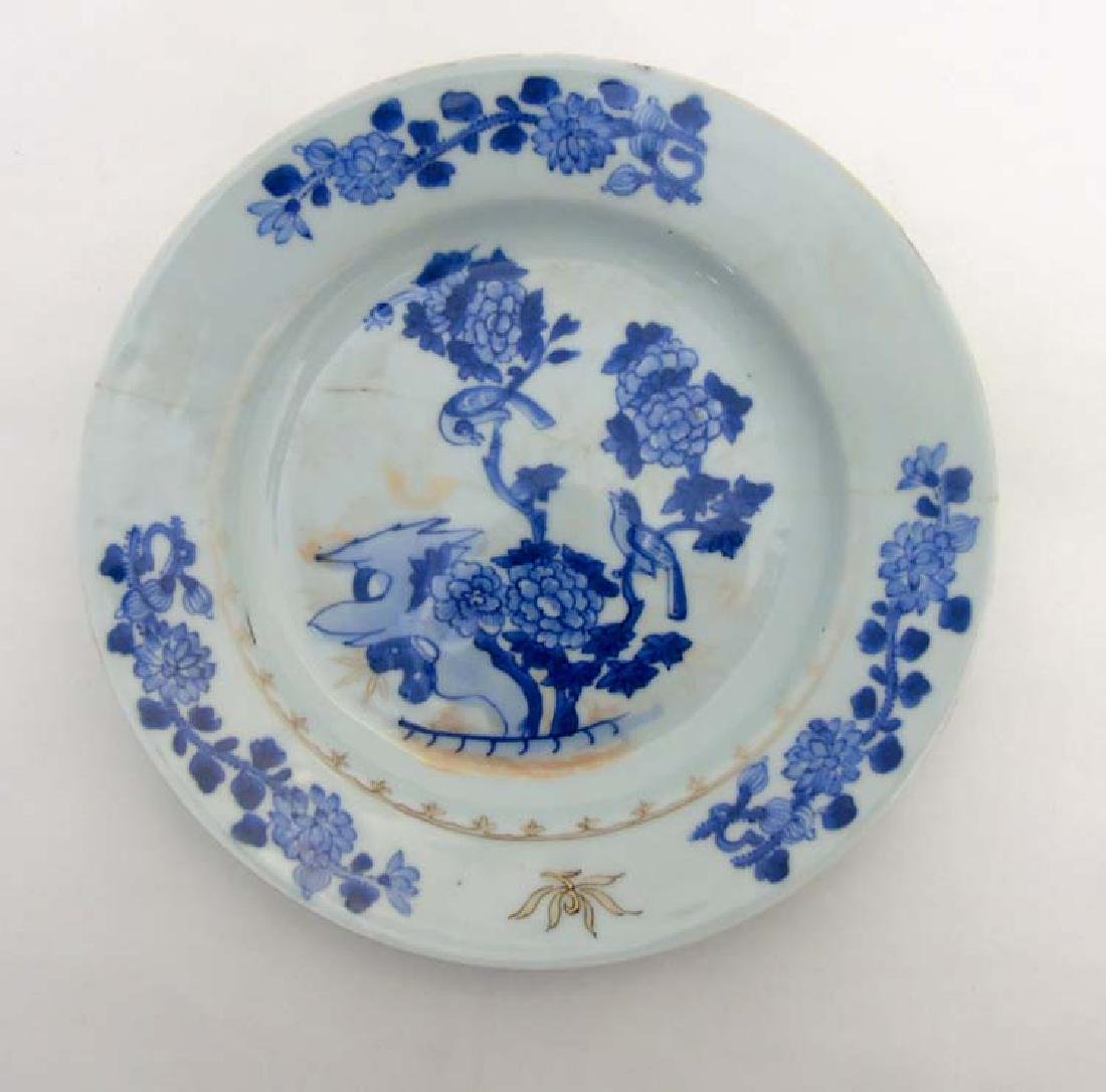 A Chinese Blue and White porcelain plate depicting