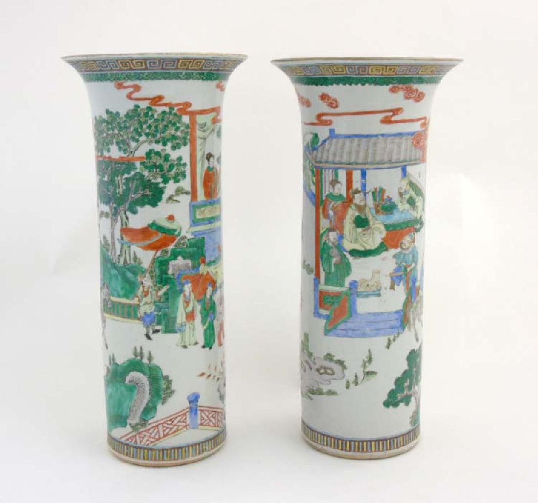 A pair of Chinese cylindrical famille verte vase with