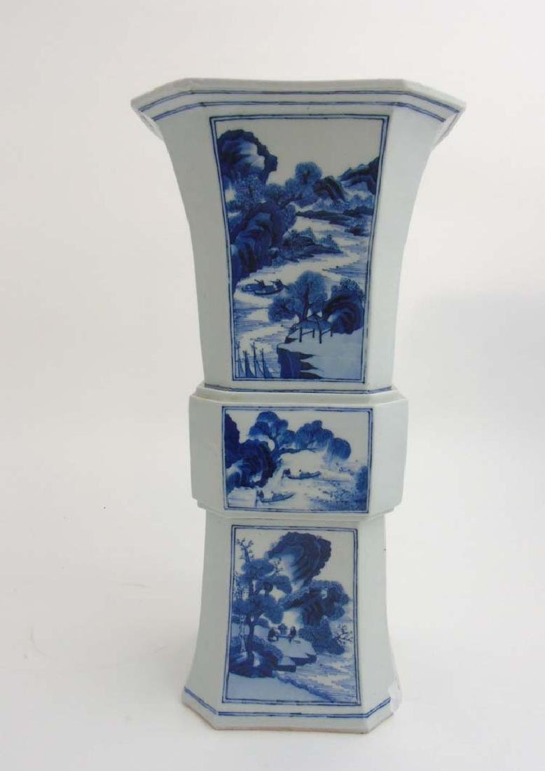 A large Chinese blue and white Gu vase of square form