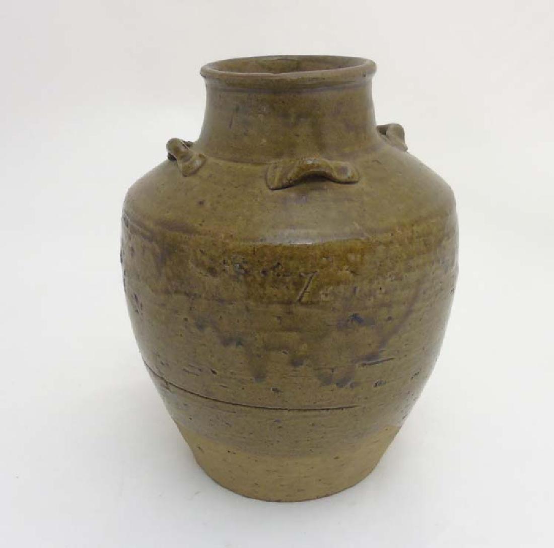Studio Pottery: A mid 20thC two tone stoneware vase