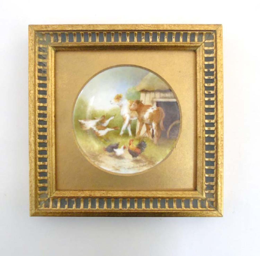 A framed Worcester porcelain picture/ plate by