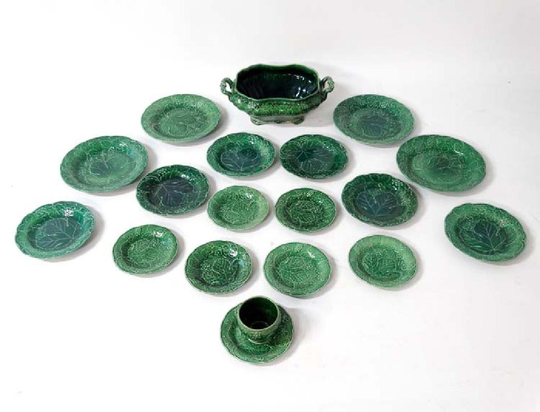 A set of Majolica glazed kitchen items with green grape