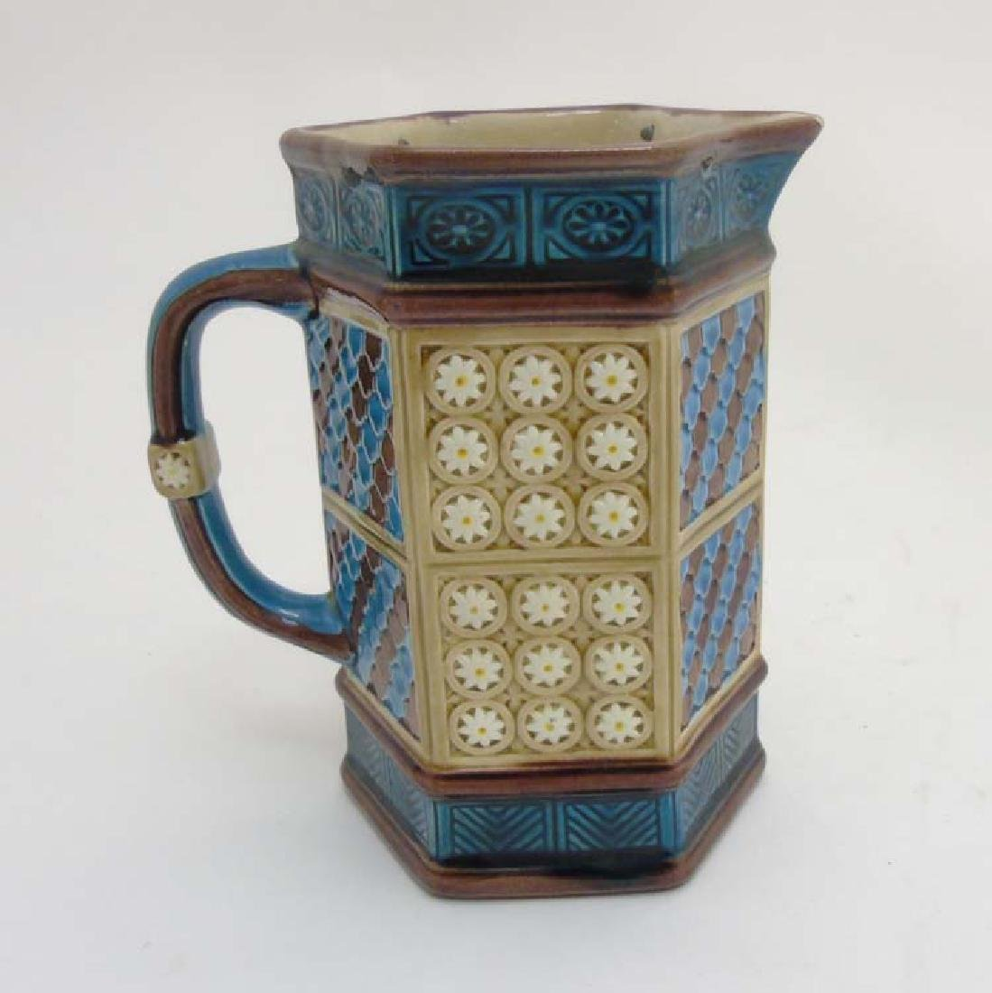 A late 19thC Wedgwood Majolica hexagonal pitcher/ jug