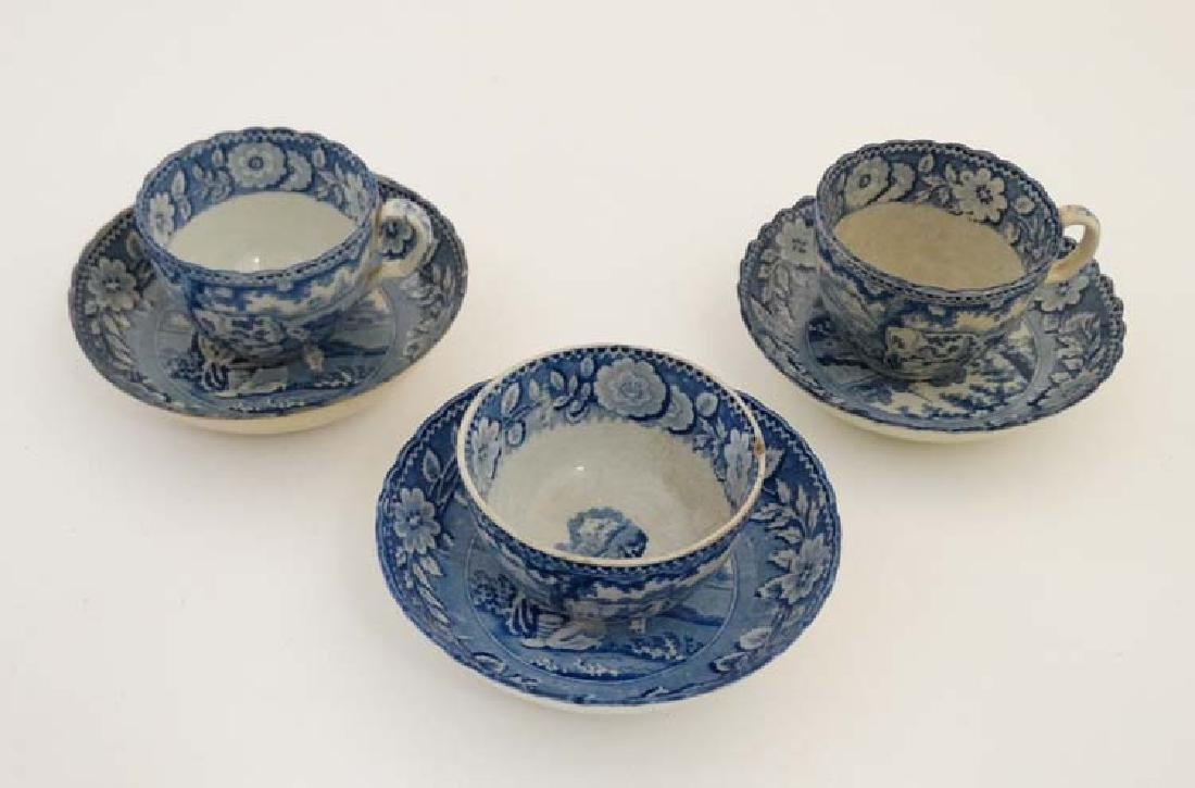 A set of three early 19thC pearlware transfer printed