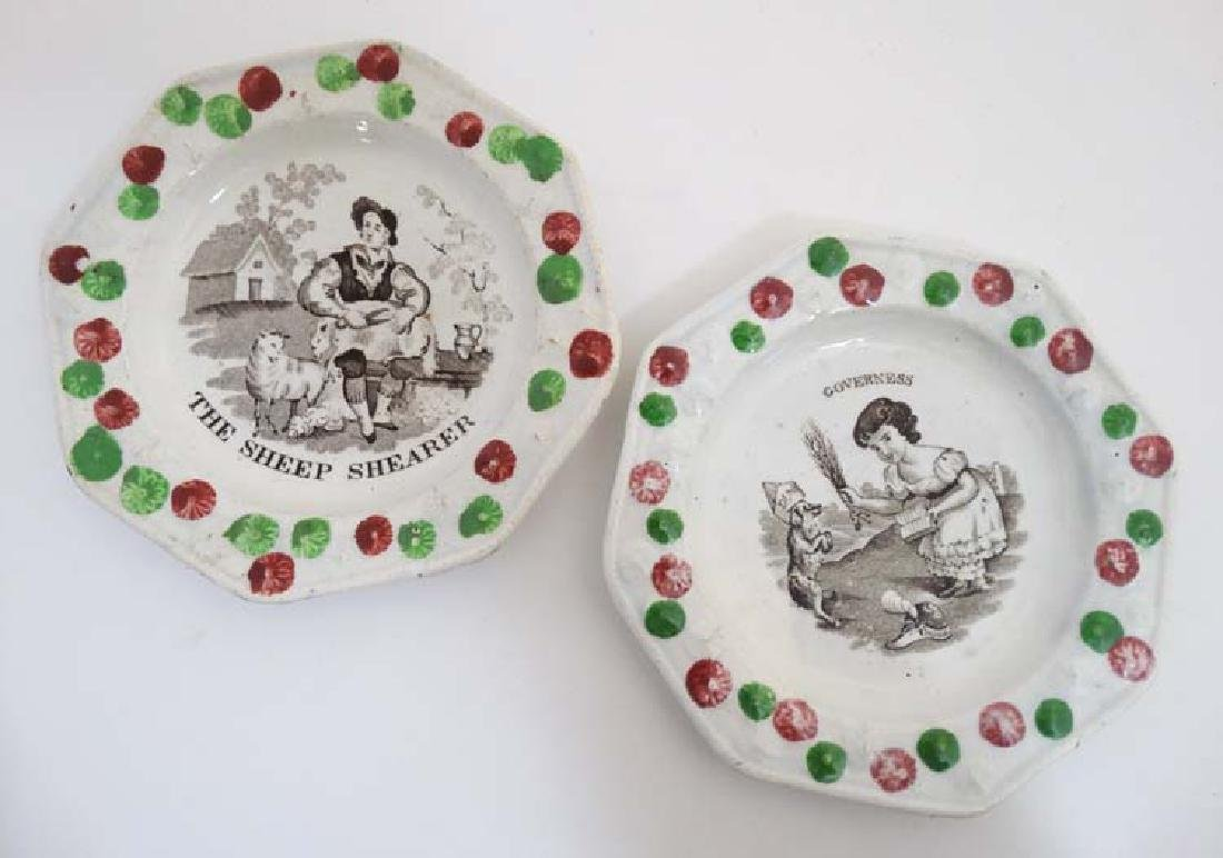 Two Victorian Children's nursery pottery plates of