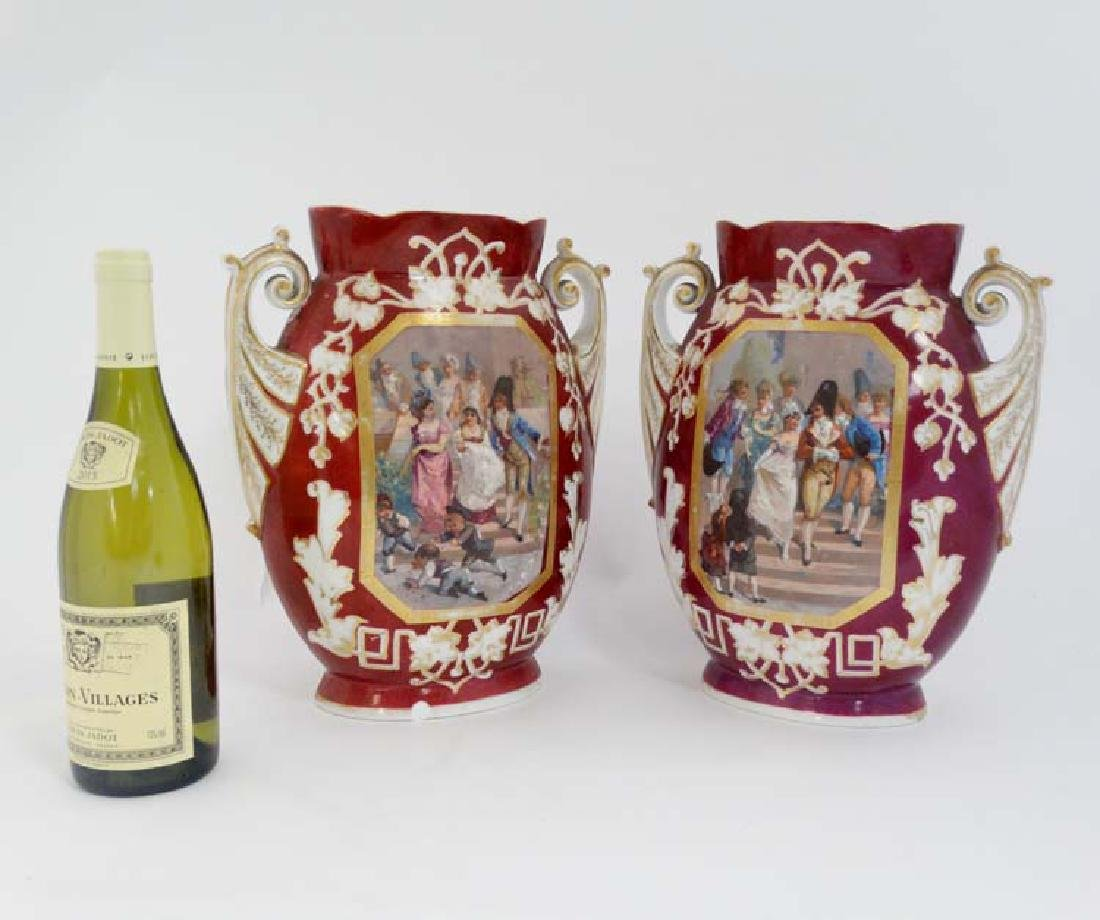 A pair of late 19thC/early 20thC Austrian style vases
