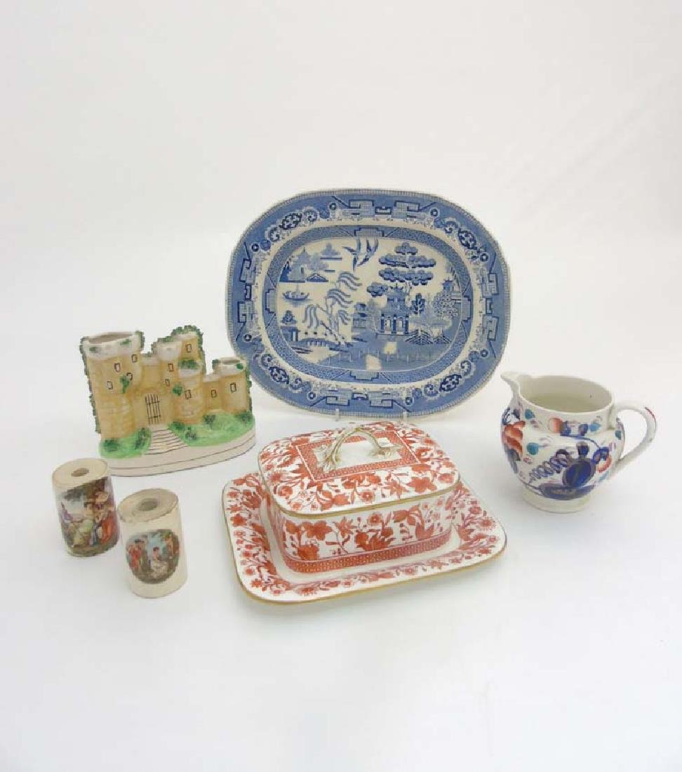 A quantity of ceramics to include a 19thC Blue and