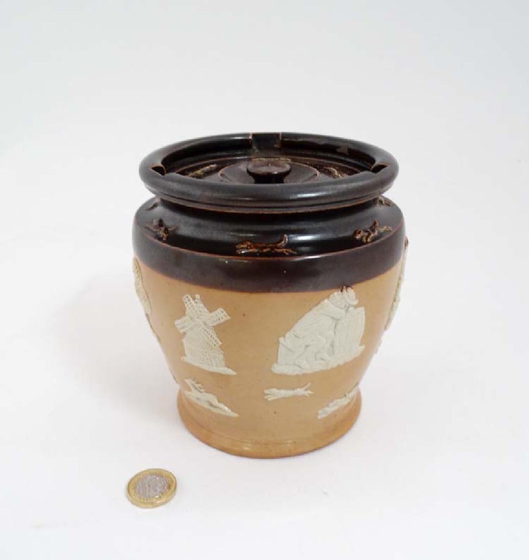 An early 20th C Royal Doulton salt glaze stoneware two-