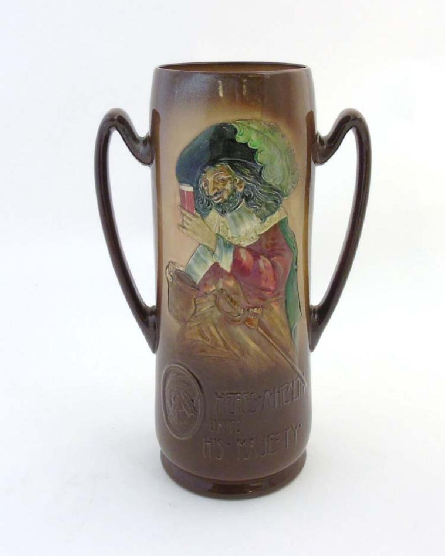 A Royal Doulton Kingsware vase, depicting cavaliers
