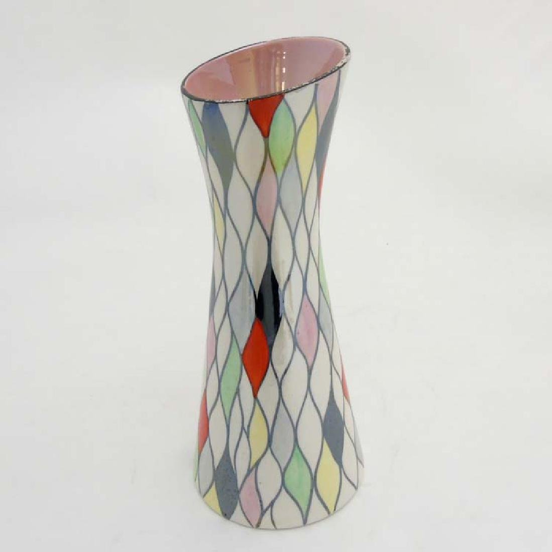A Mid 20thC Retro Maling Traced Rose vase decorated in