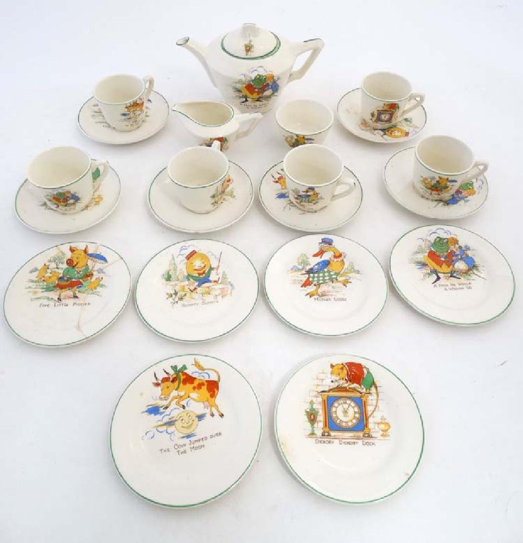 An early / mid 20thC children's Nursery Rhyme teaset ,