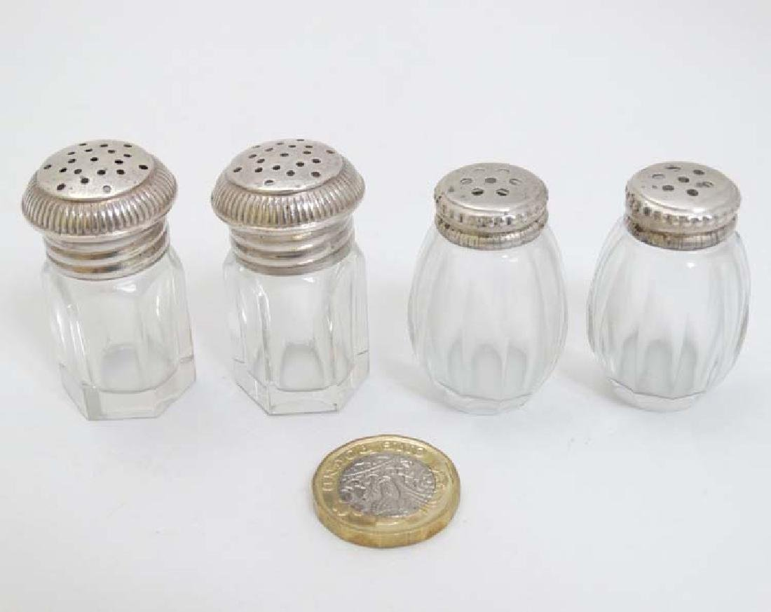 2 + 2 pairs of glass pepperettes with Continental