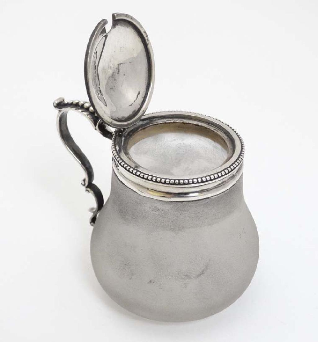 A Victorian frosted glass mustard pot with silver top - 5