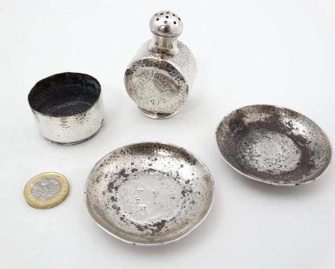 4 items of white metal and silver plate comprising salt