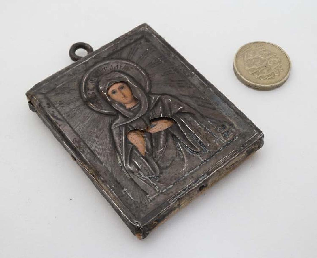 A Russian hand painted miniature icon with Russian