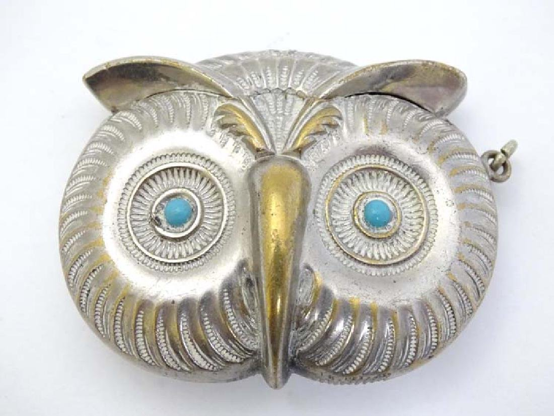 A novelty silver plate vesta case formed as the head of