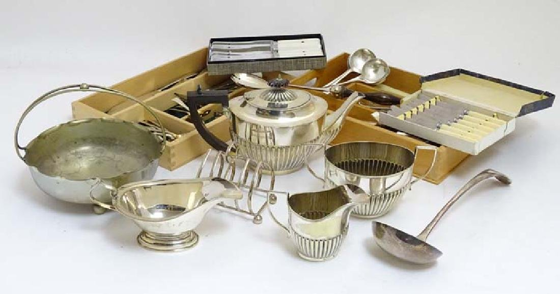 Assorted silver plated wares to include flatware,