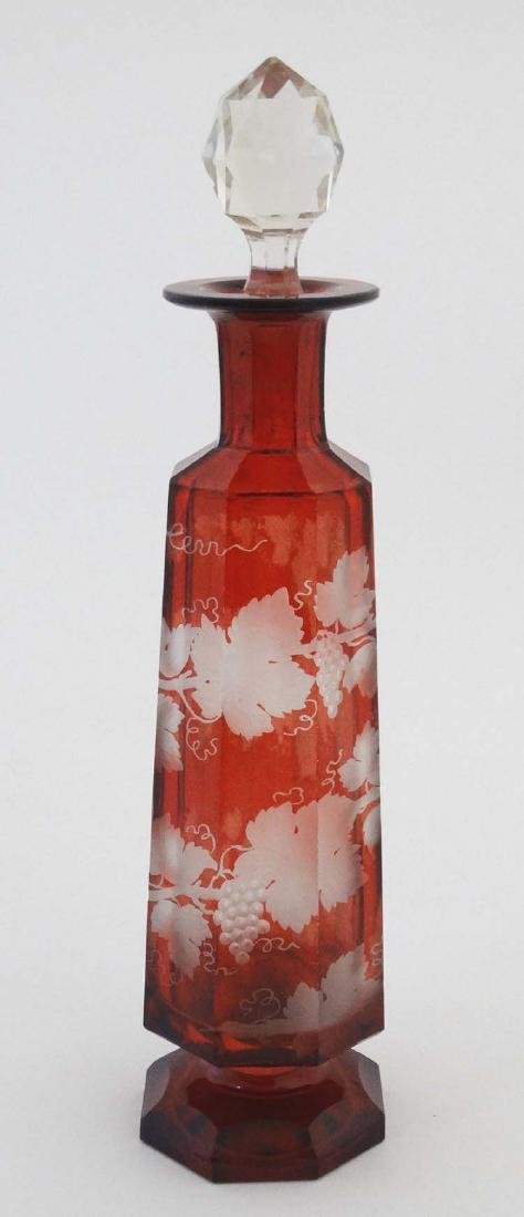 *WITHDRAWN* ruby glass  flask with etched fruiting vine