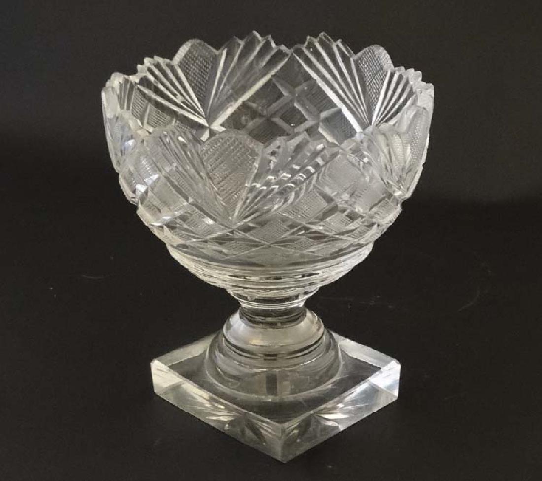 A 19thC cut glass / crystal pedestal bon bon dish on