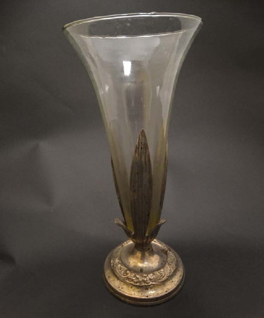 A glass epergne / vase  with silver plate pedestal